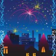 Royalty-Free Stock Vector Image: Fireworks celebration scene