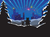 Rabbit and bear looks at a city and fireworks — Stock Vector