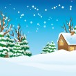 Snow-covered village — Stock Vector #3723128