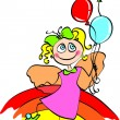 Stock Vector: Fairy with balloon on rainbow
