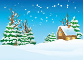 Snow-covered village — Stock Vector