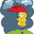 Stock Vector: Pretty girl with an Umbrella.