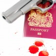 Passport and gun — Stock Photo