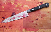 Butchers Block and Knife — Stock Photo