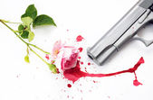 Blood Rose and Gun — Stock Photo