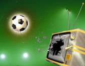 Tv broken by soccer ball — Stock Photo