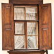 Wood  window shutters opened - Stock Photo