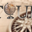Tour type with Earth globe in place of 'o' — Stock Photo