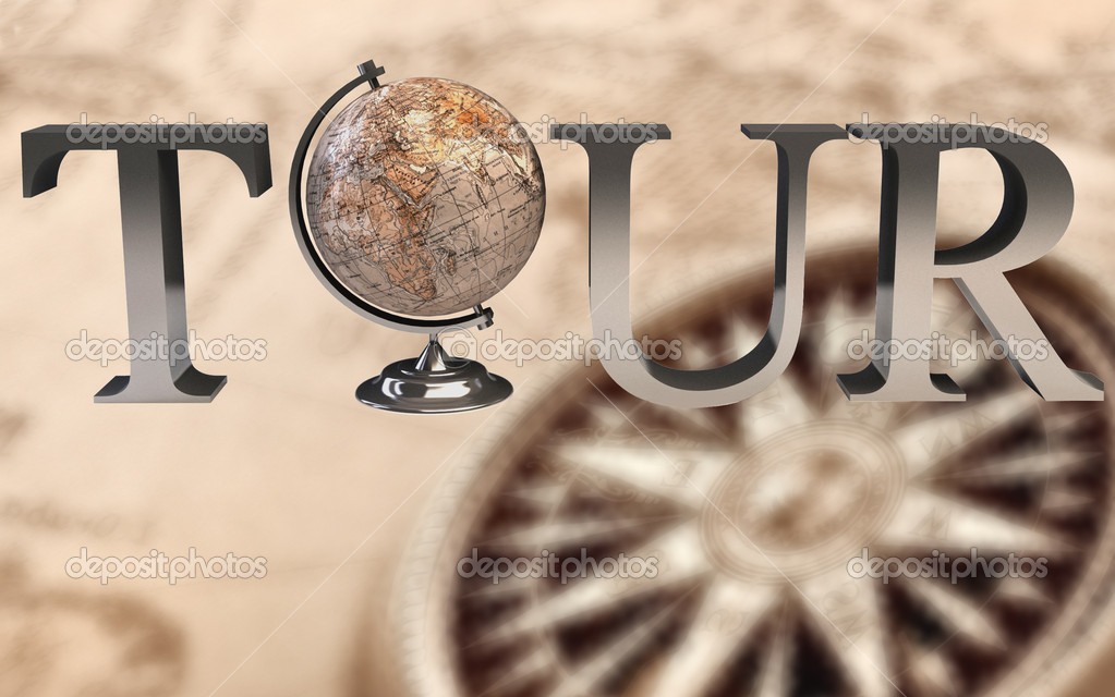 Tour type with Earth globe in place of 'o' - 3d render  Stock Photo #3522550