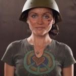 Military Beautiful smiling girl — Stock Photo #2709171
