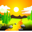 Stock Vector: Landscape of summer hot day