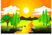Landscape of summer hot day — Stock Vector
