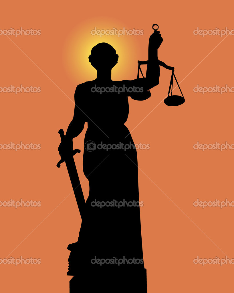 Silhouette of a statue of justice on an orange background — Stock Vector #3177626