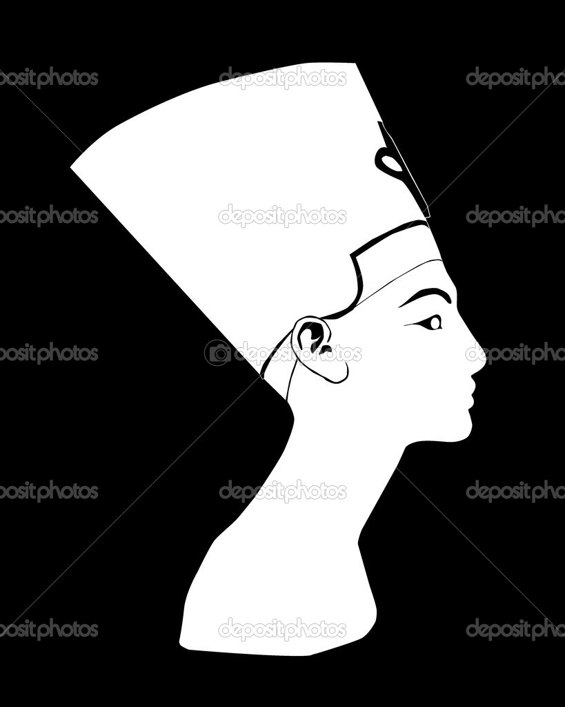 White silhouette Nefertiti on a black background — Stock Vector #3177977