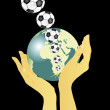 Hands holding globe and flying footballs — Vector de stock #3274889