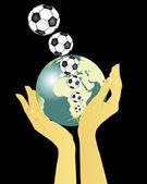 手中持有地球和飞足球 — 图库矢量图片