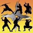 Silhouettes of group of a ninja — Stock Vector