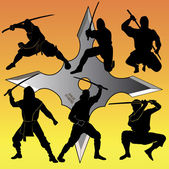 Silhouettes of group of a ninja — ストックベクタ