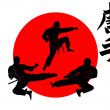 Three silhouettes Karate - Stock Vector