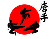 Three silhouettes Karate — Stock Vector