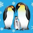 Royalty-Free Stock Vector Image: Two penguins and their cub