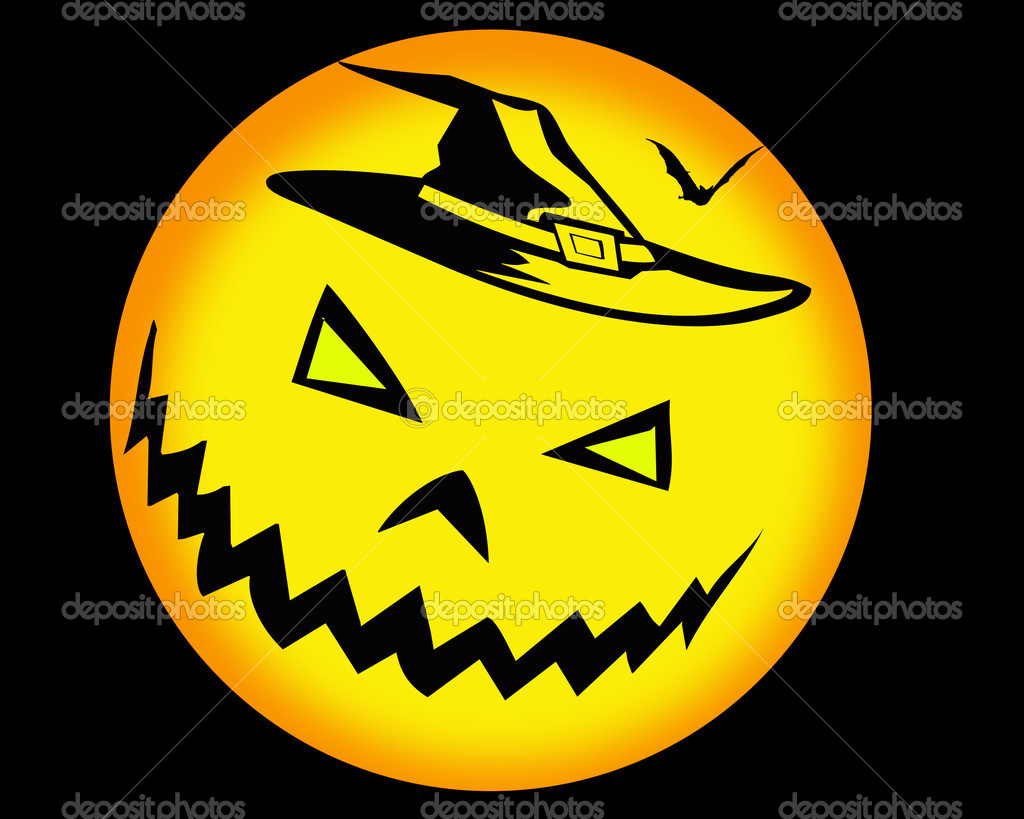 Halloween background with yellow pumpkin — Stock Photo #3836100