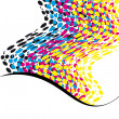 Wavy CMYK spots with copy space vertical — Stock Photo