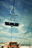 Cable-way ski transport wire at clody sunny day — Stock Photo