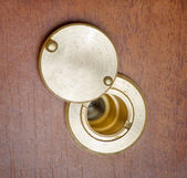 Spy hole or peephole view at door — Stock Photo