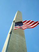 National Monument and a National Flag — Stock Photo