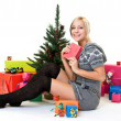Stock Photo: Nice womglad her present