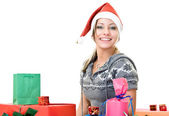 Cute girl with lot of christmas-box — Stock Photo