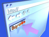 Browser Closeup - Buy online — Stock Photo