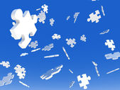 Falling Puzzle Pieces — Stock Photo