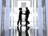 Handshake - Black Silhouettes — Stock Photo
