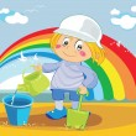 Fanny boy in the beach with rainbow — Stock Vector #3311642