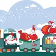 Happy 3 Santa Claus on the train with bags. — Stock Vector
