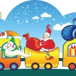Three Happy Santa Claus on the train with bags. — Stock Vector