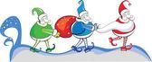 幸せの色クリスマスとサンタ クロースを袋します。 — ストックベクタ