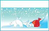 Greeting card with winter white Polae bear — Wektor stockowy