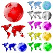 World Map and Globe Vector Set - Stock Vector
