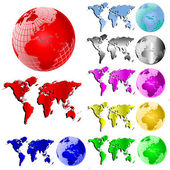 World Map and Globe Vector Set — Stock Vector
