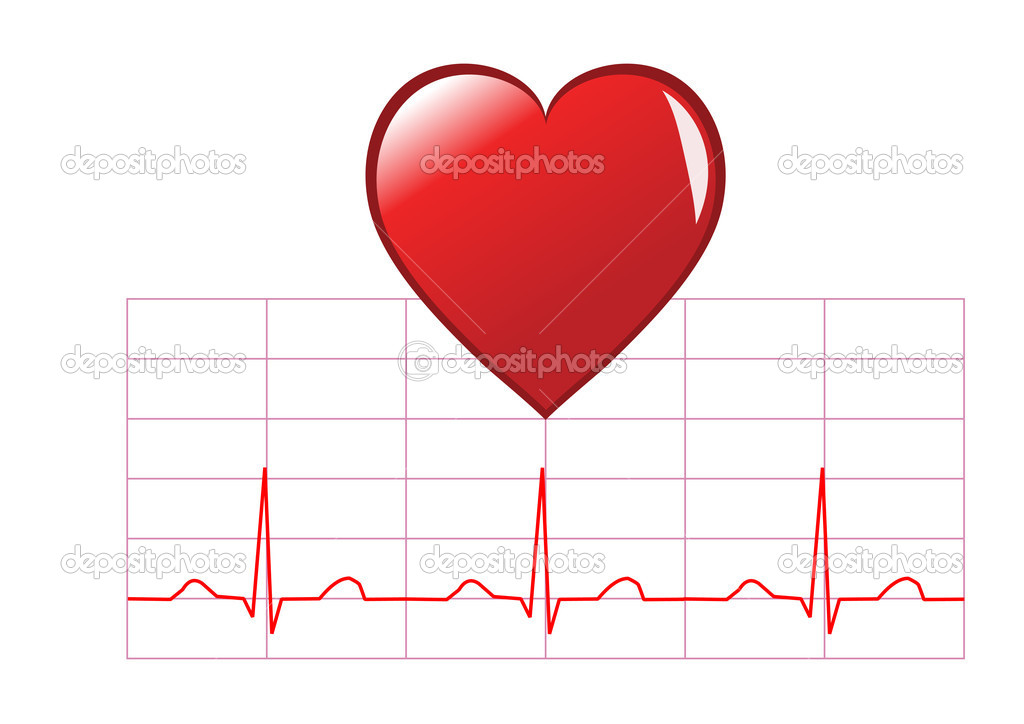 Healthy heart illustration showing a red heart over a healthy sinus rhythm cardiac trace isolated on white — Stock Vector #3113140