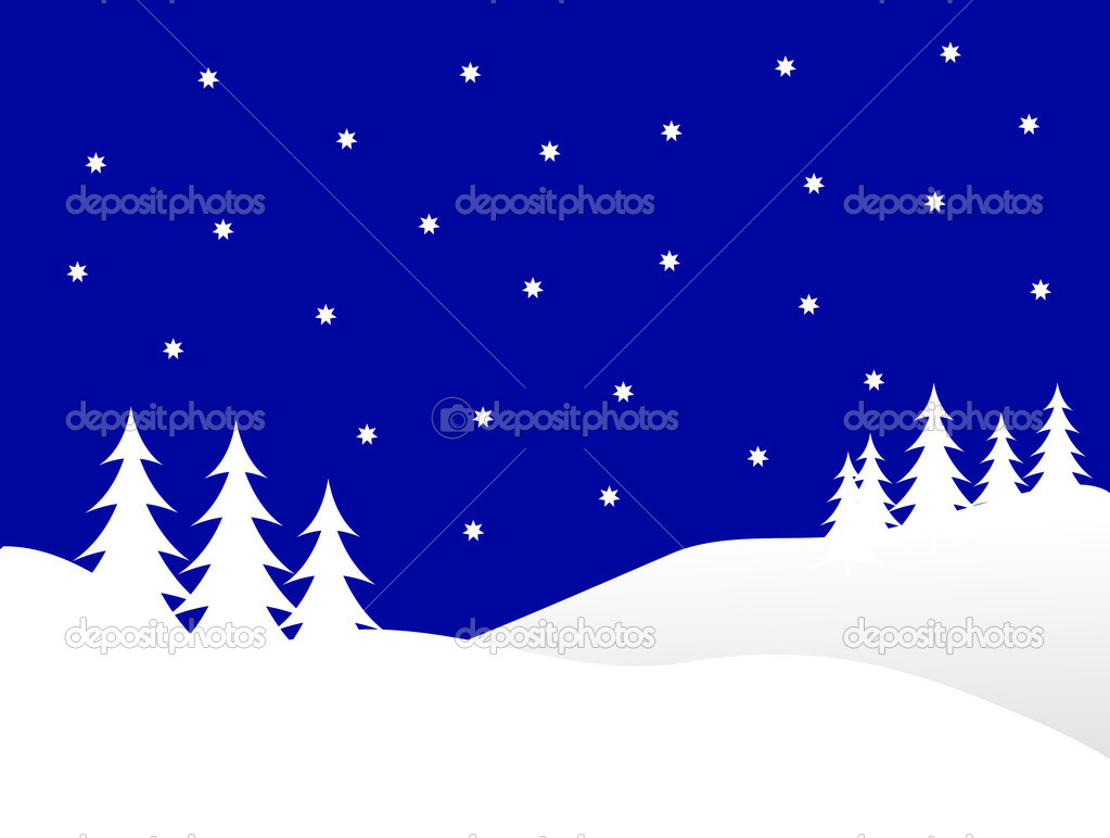 A winter vector background illustration with white trees on snowy hills with a blue evening sky with room for text — Stock Vector #3740221