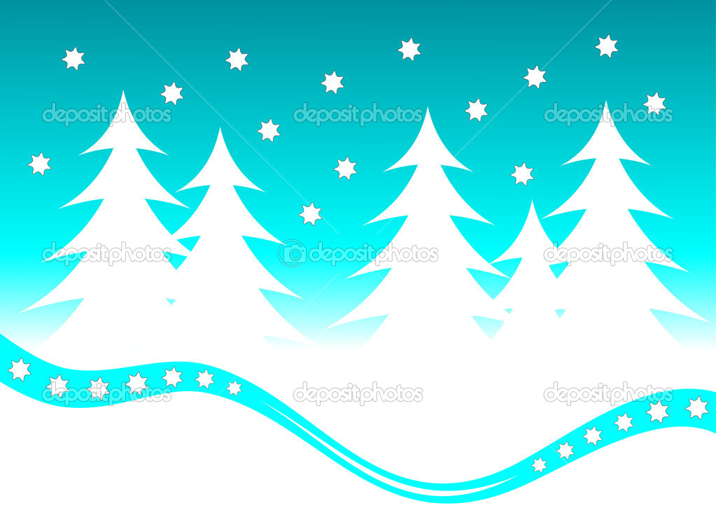 An abstract christmas vector background illustration with a shooting star above a christmas tree covered hill — Stock Vector #3740235