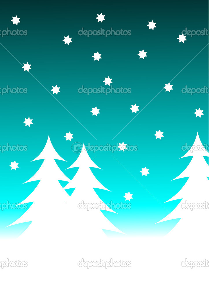 An abstract christmas vector background illustration with a stary sky above a christmas tree covered hill  Stock Vector #3740241