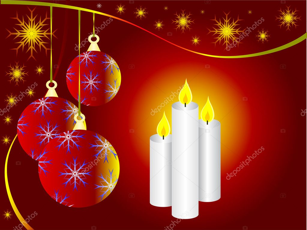 A vector illustration with a red christmas baubles and three christmas candles — Stock Vector #3740250