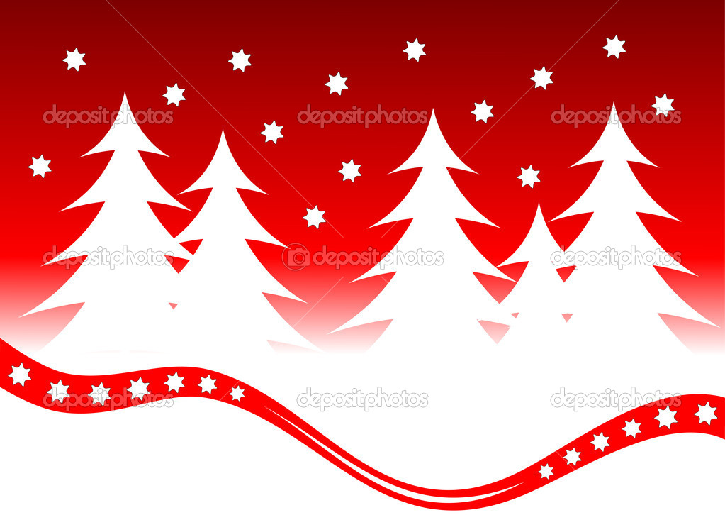 Abstract Christmas winter Scene with white trees on a red background — Stock Vector #3740279