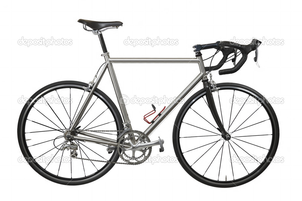 Isolated lightweight race bicycle with titanium frame — Stock Photo #3795902