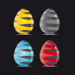 Stock Vector: Glass Easter Eggs